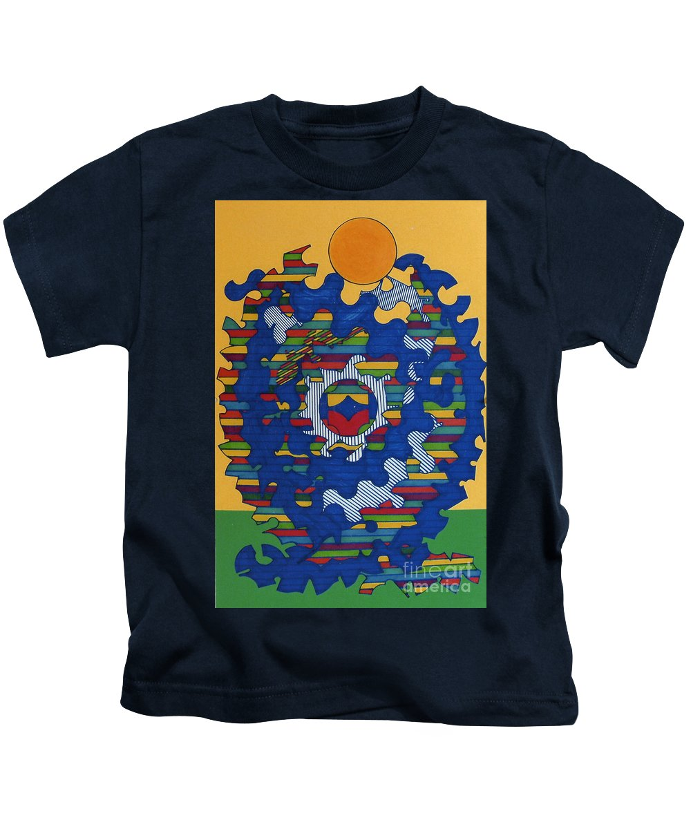 Brilliant Sun Kids T-Shirt featuring the drawing Rfb0419 by Robert F Battles