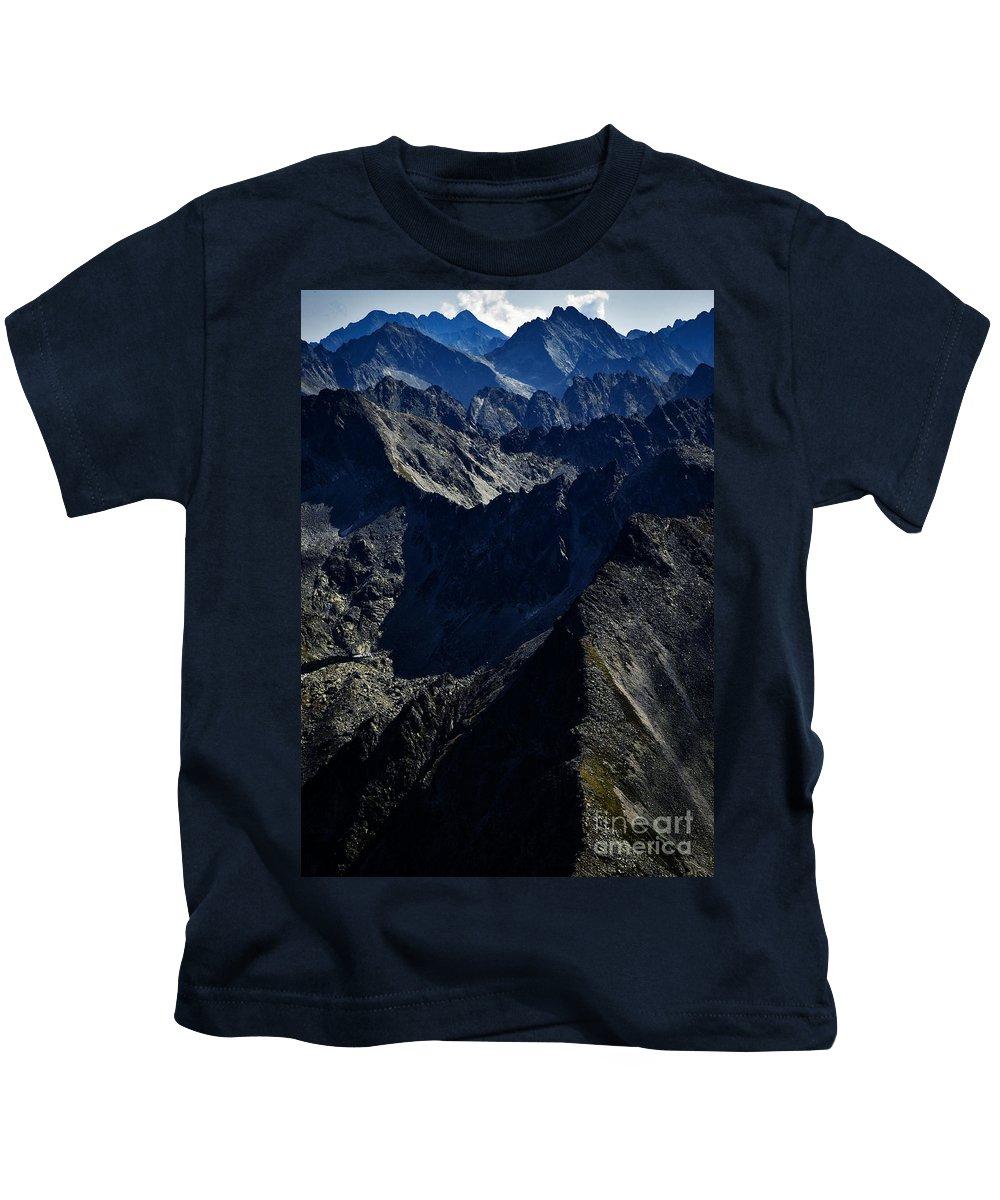 Landscape Kids T-Shirt featuring the photograph ridges of the rocky Tatra peaks by Jozef Jankola