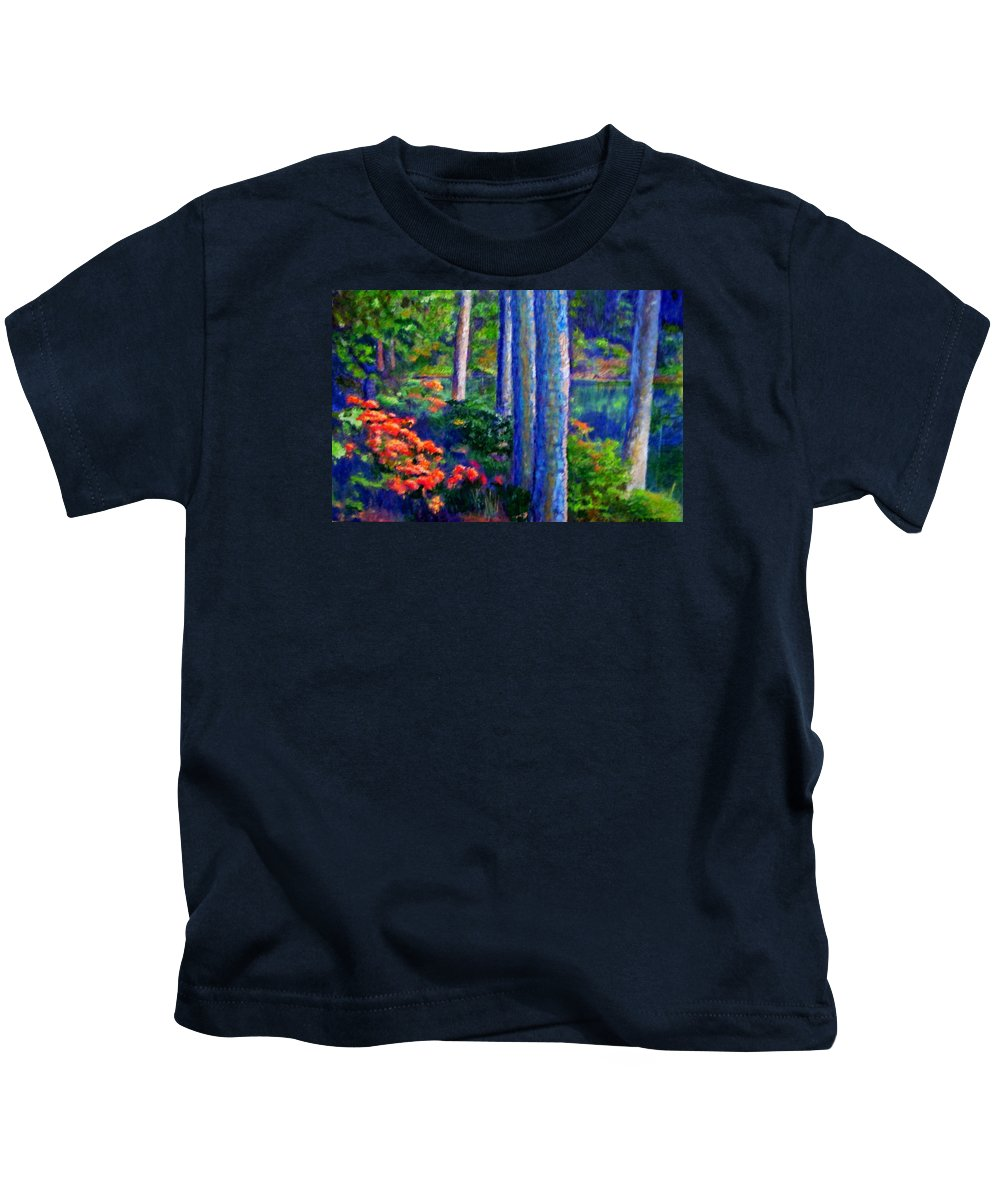 River Kids T-Shirt featuring the painting Rivers Edge by Michael Durst