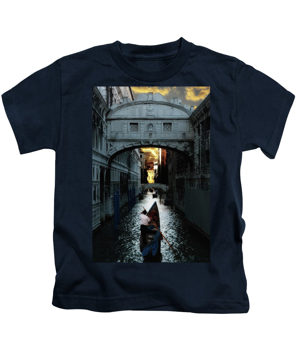 Venice Kids T-Shirt featuring the photograph Romantic Venice by Harry Spitz