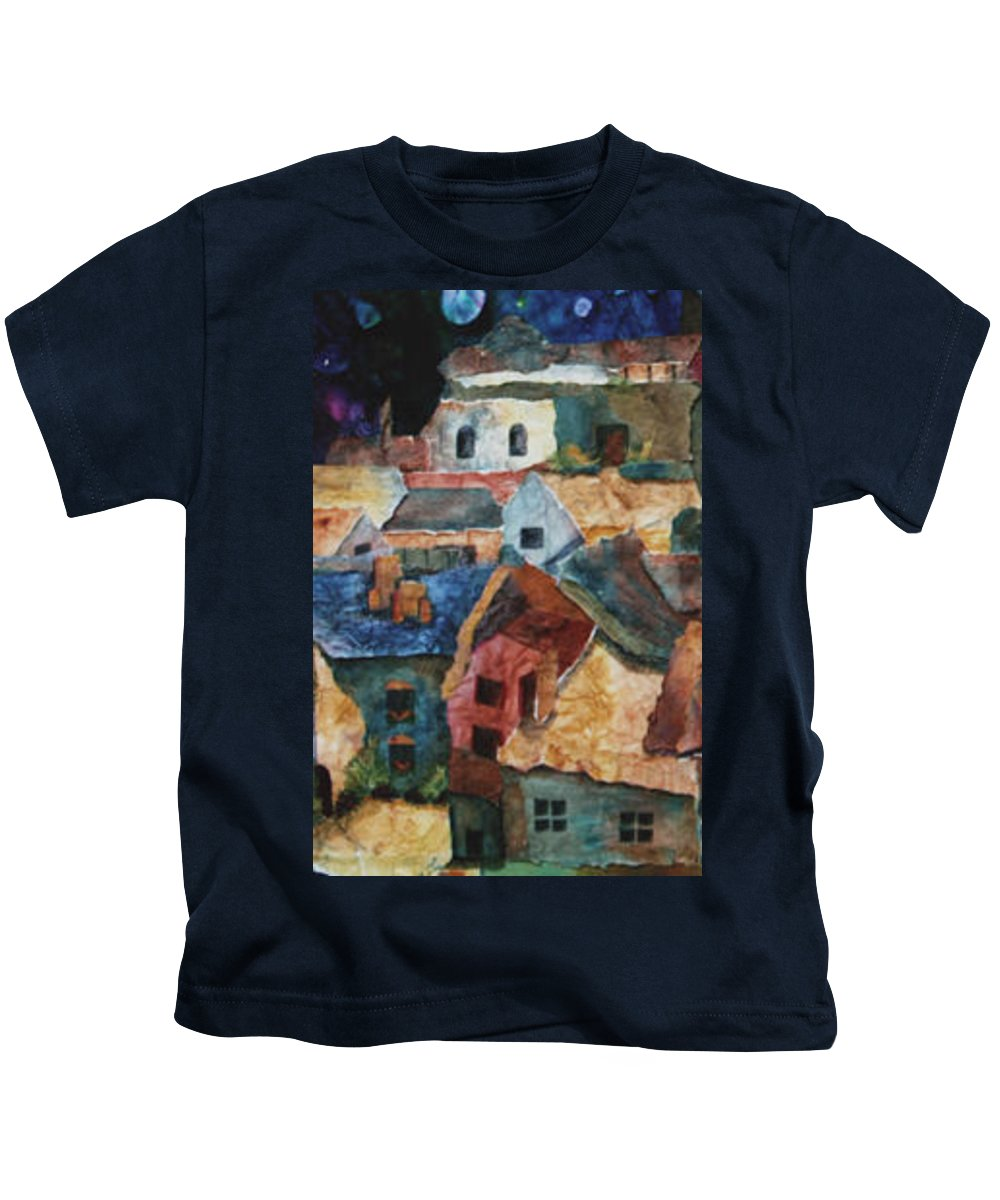 Collage Kids T-Shirt featuring the painting Rooftops by Janice Nabors Raiteri