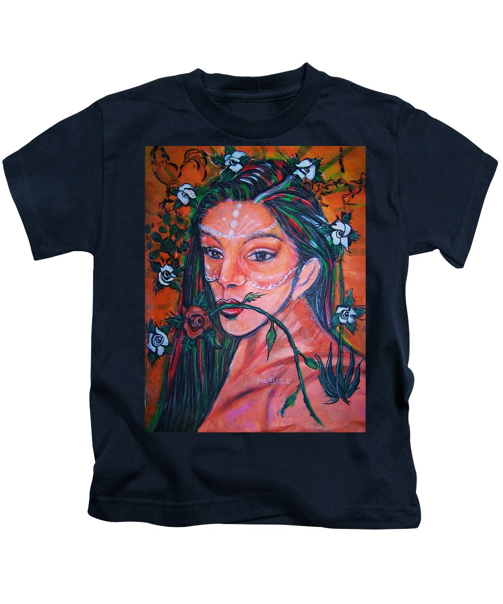 Latina Kids T-Shirt featuring the painting Rosales Latina by Americo Salazar