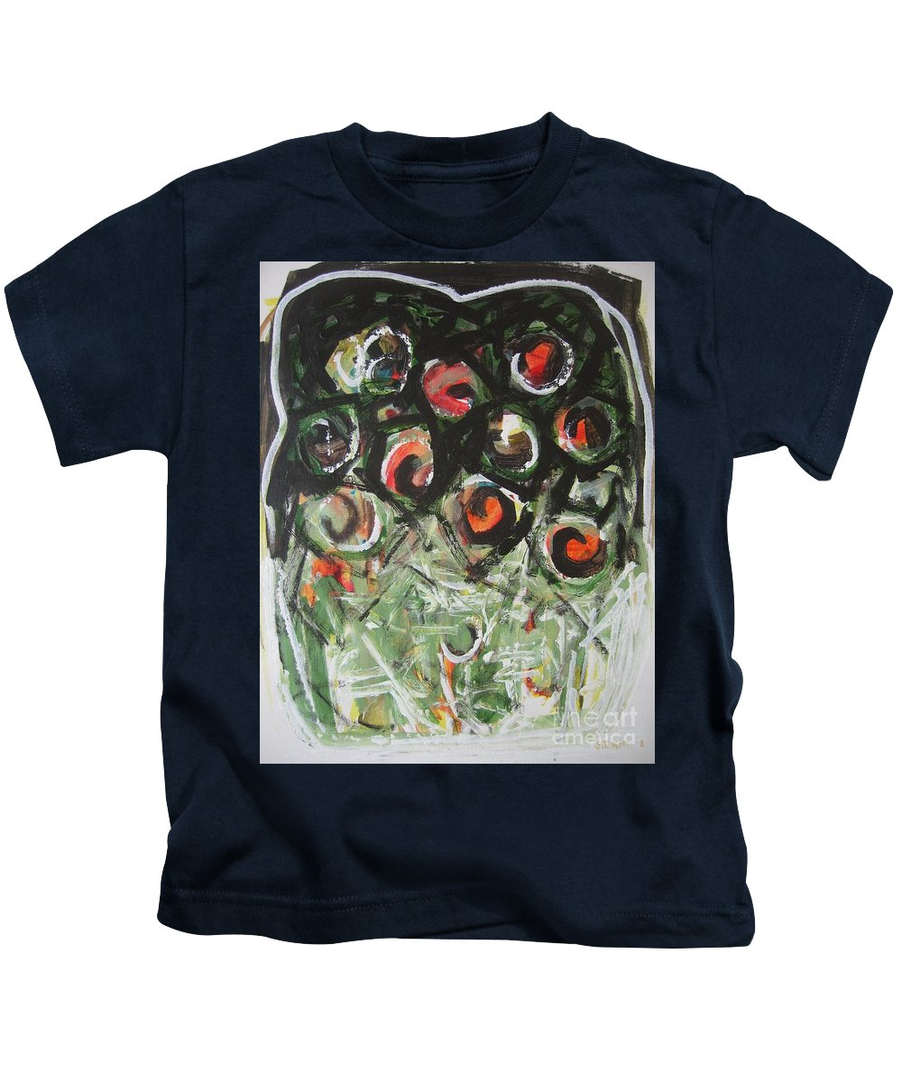 Abstract Painting Kids T-Shirt featuring the painting Roses by Seon-Jeong Kim