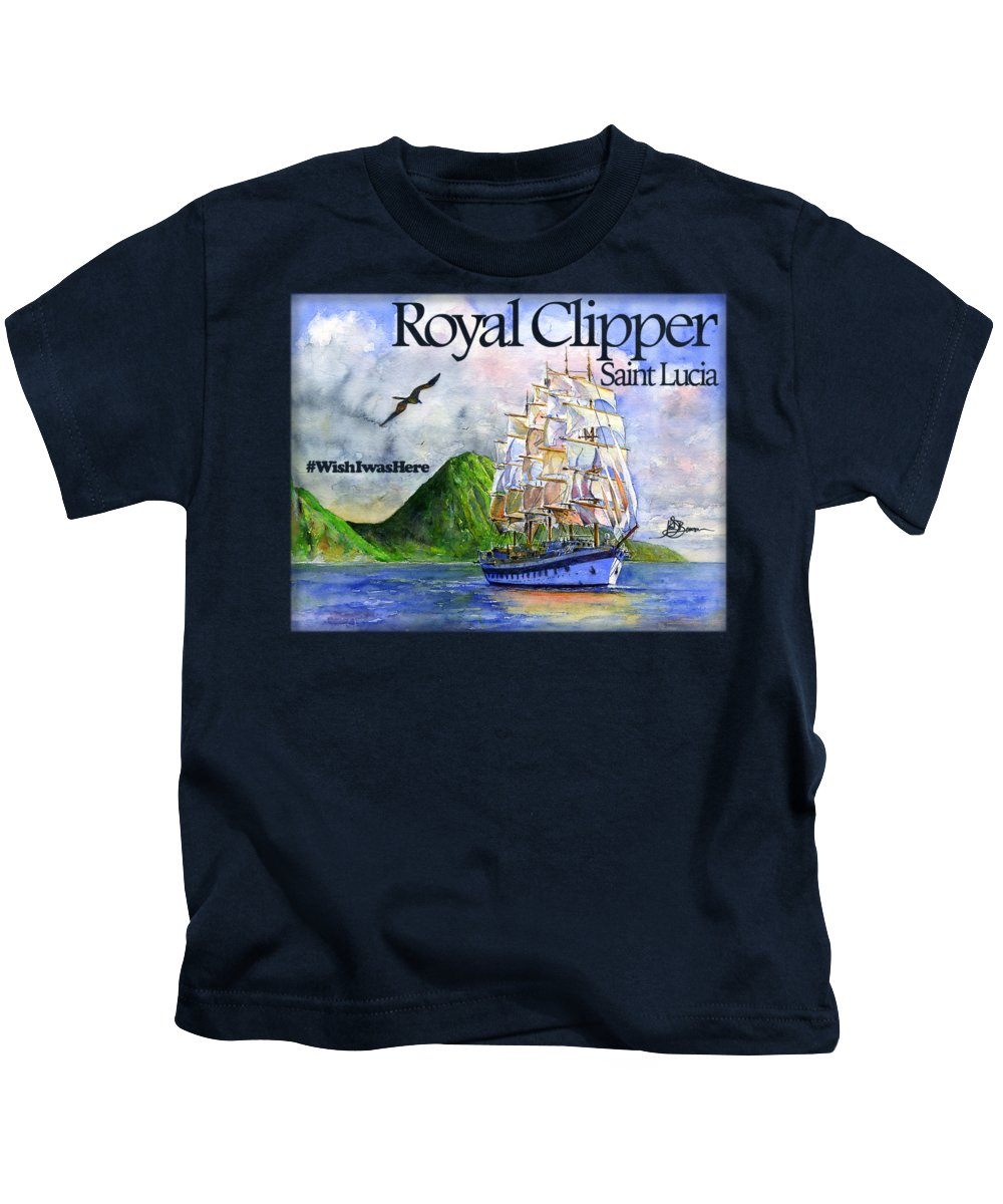 Royal Clipper Kids T-Shirt featuring the painting Royal Clipper St Lucia Shirt by John D Benson