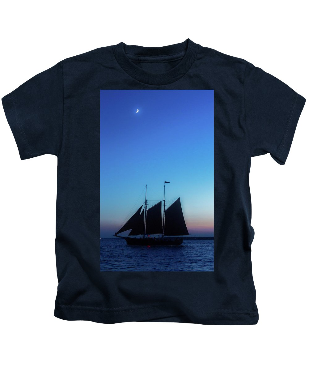 Newport Kids T-Shirt featuring the photograph Sailing Into Sunset by Janet Argenta