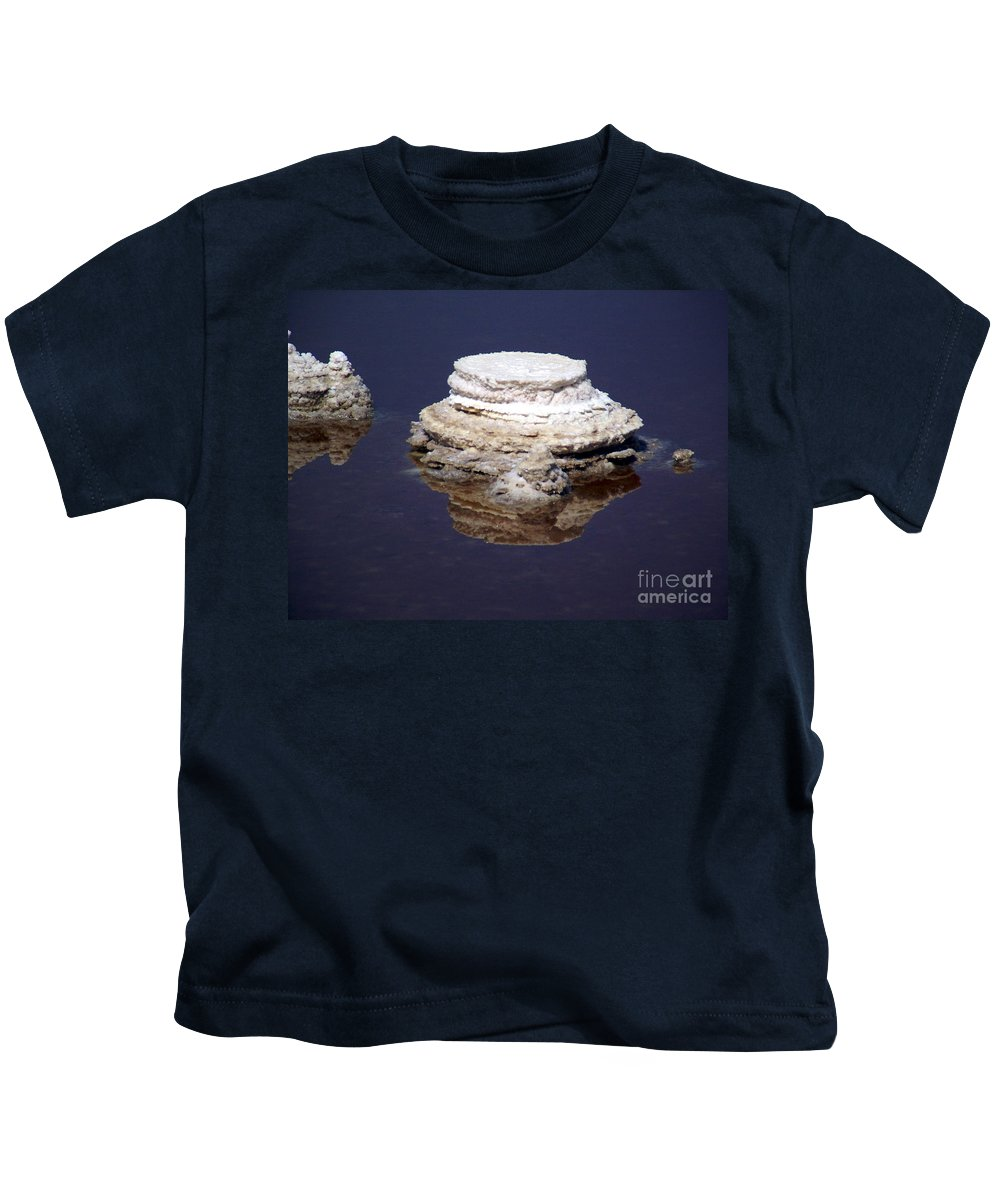 Salt; Formation Kids T-Shirt featuring the photograph salt cristal at the Dead Sea Israel by Avi Horovitz