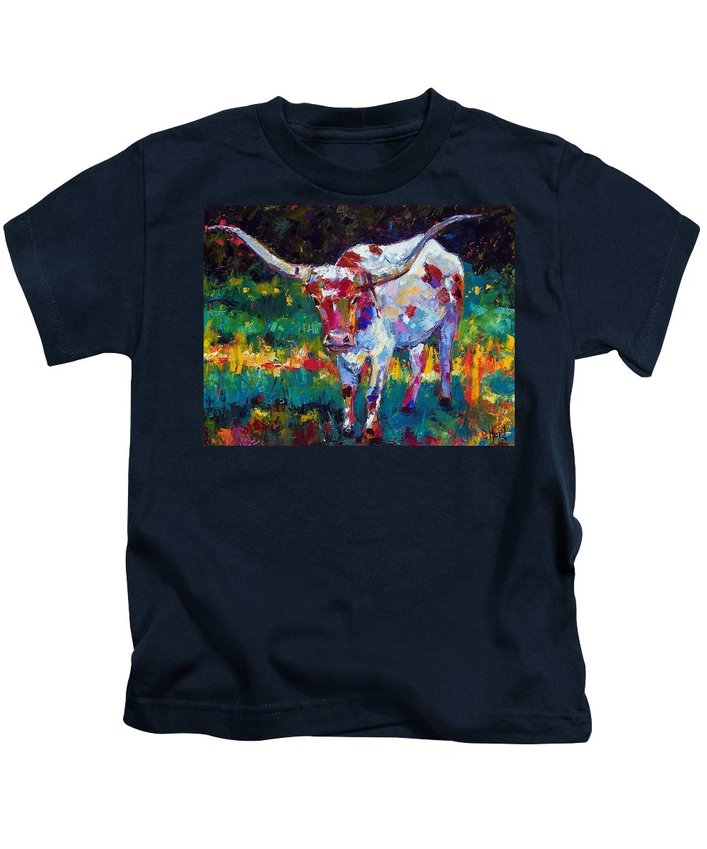 Longhorn Kids T-Shirt featuring the painting Sassy by Debra Hurd