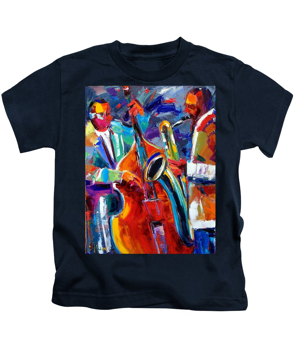 Jazz Painting Kids T-Shirt featuring the painting Sax And Bass by Debra Hurd