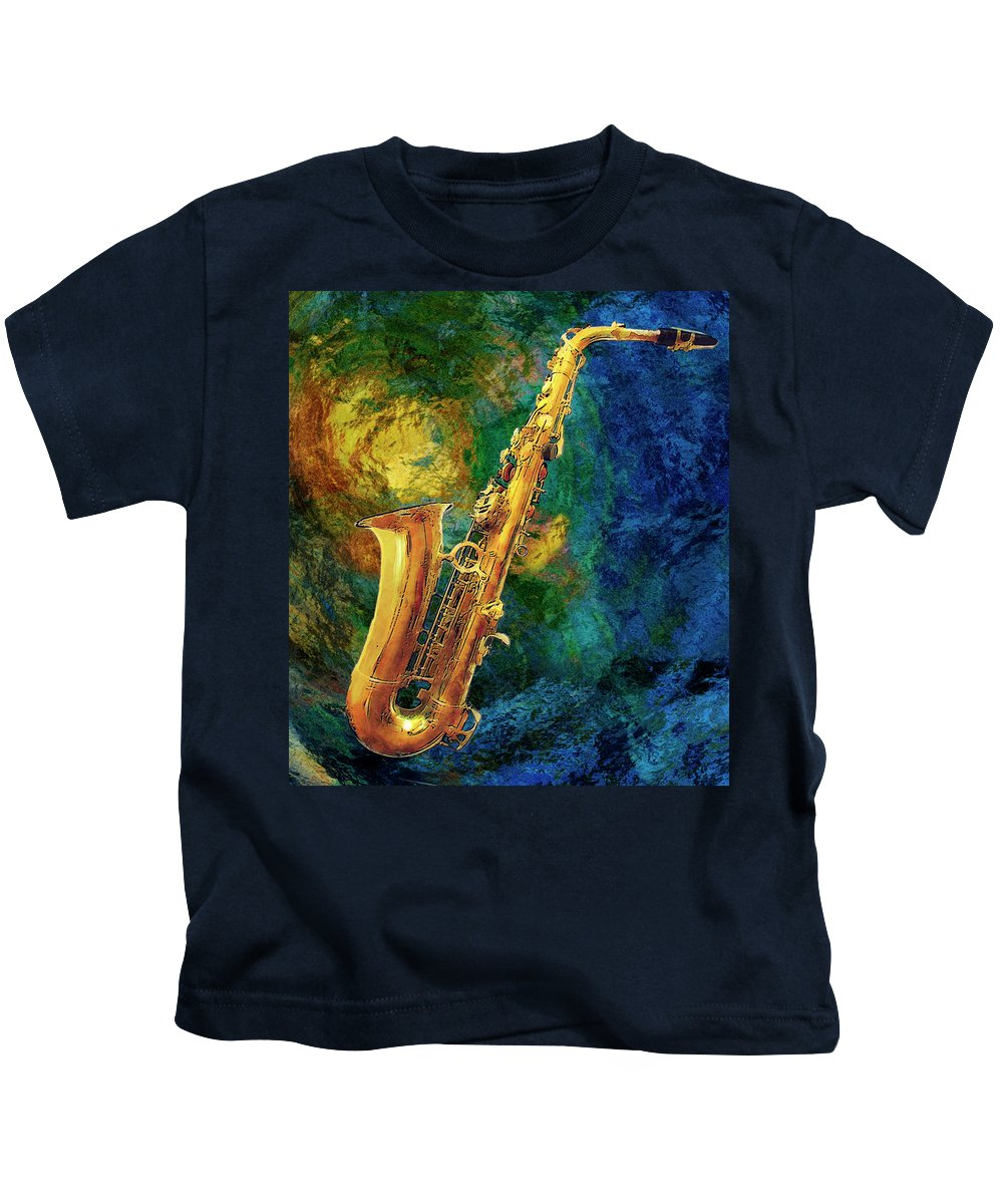 Saxophone Kids T-Shirt featuring the painting Saxophone by Jack Zulli