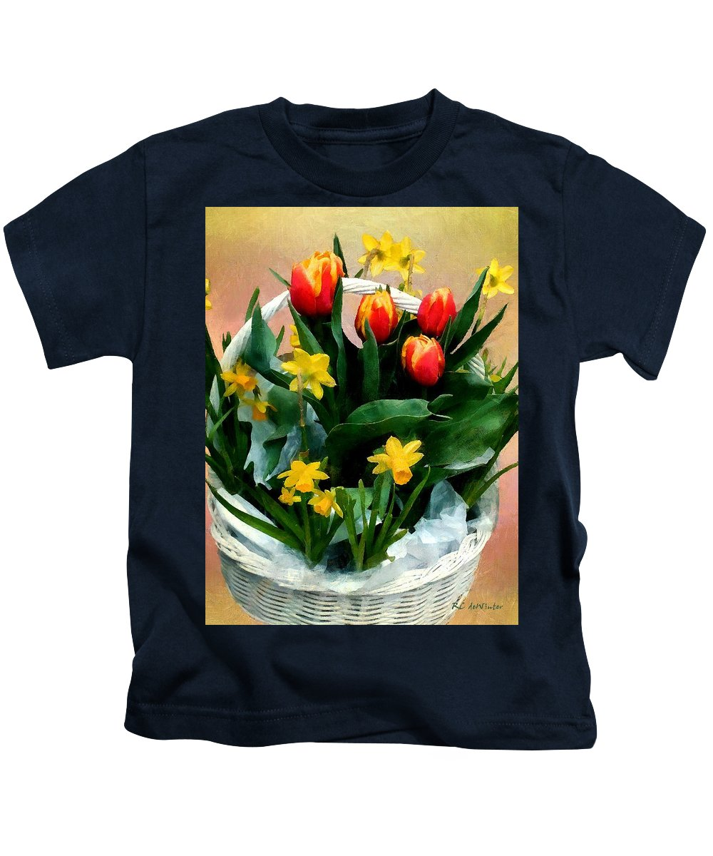 Still Life Kids T-Shirt featuring the painting Scarlet And Gold by RC DeWinter