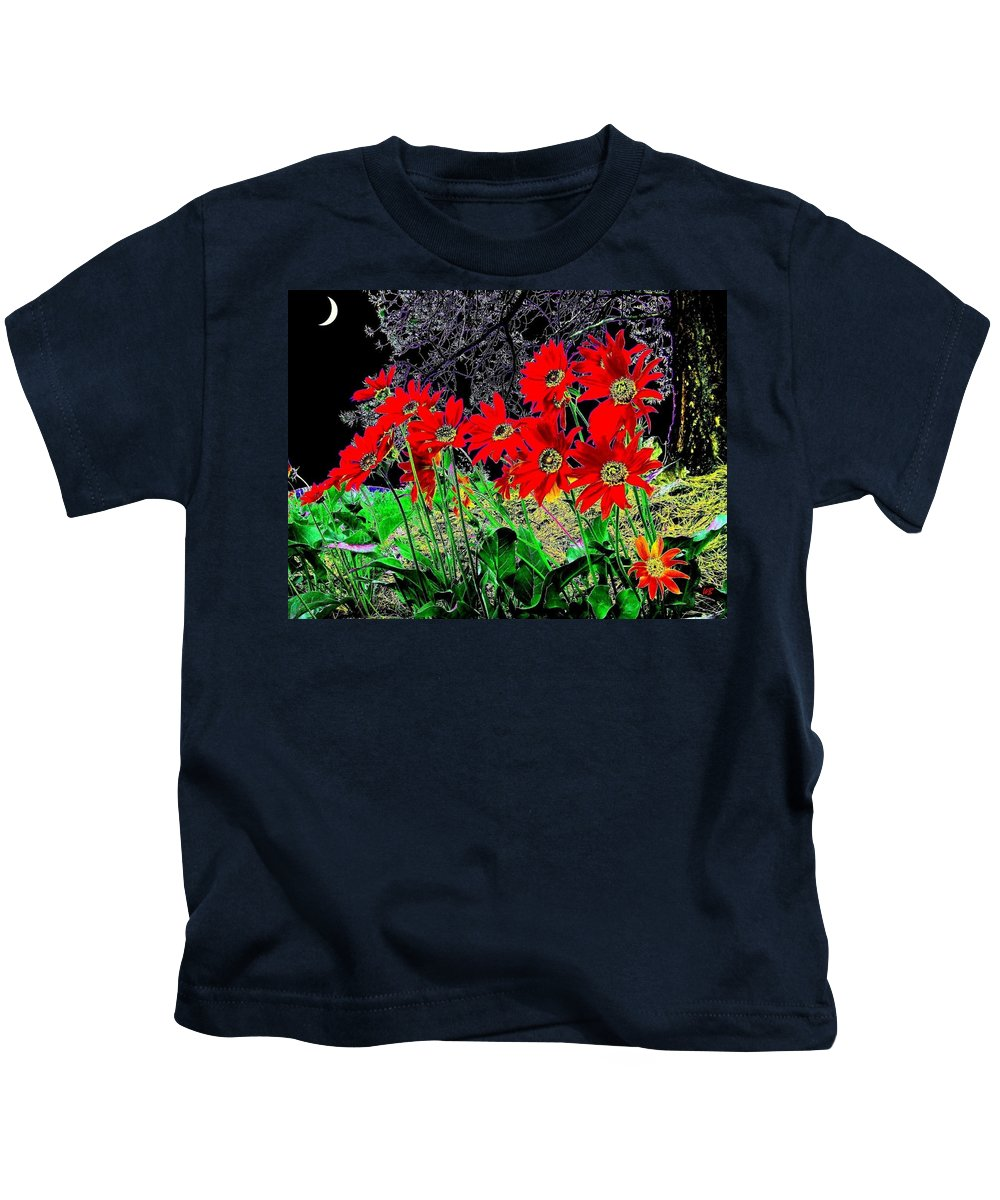 Abstract Kids T-Shirt featuring the digital art Scarlet Night by Will Borden
