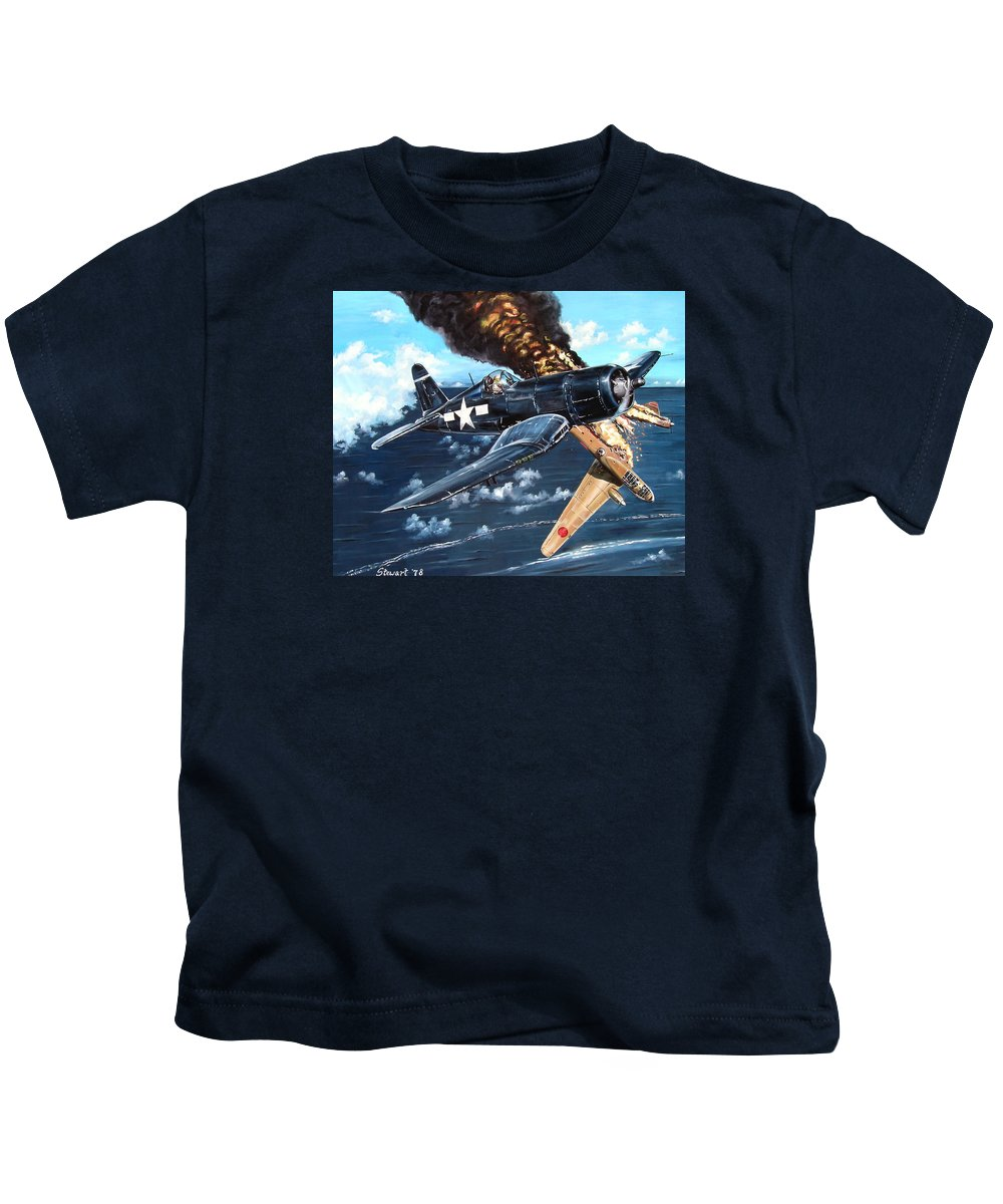 Military Kids T-Shirt featuring the painting Scratch One Betty by Marc Stewart
