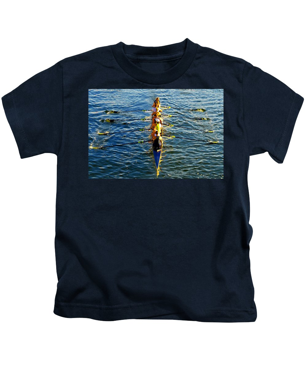 Females Kids T-Shirt featuring the photograph Sculling Women by David Lee Thompson