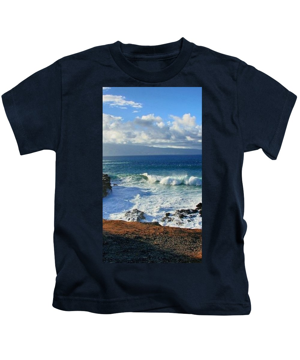 Sea Wave Surf Clouds Coast 30x3 Kids T-Shirt featuring the digital art Sea Wave Surf Clouds Coast 46713 300x532 by Rose Lynn