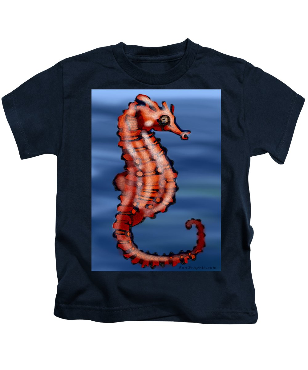 Seahorse Kids T-Shirt featuring the painting Seahorse by Kevin Middleton