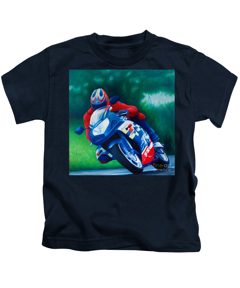 Motorcycles Kids T-Shirt featuring the painting Second Gear - Suzuki Gsx600 by Brian Commerford