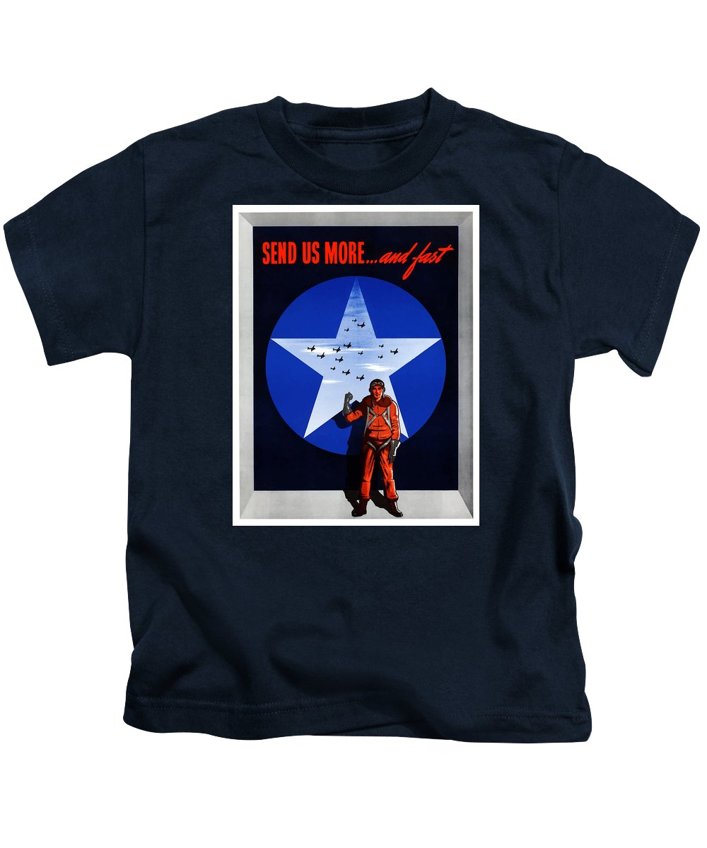 Air Force Kids T-Shirt featuring the painting Send Us More And Fast -- Ww2 by War Is Hell Store