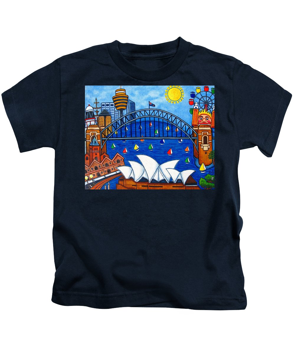 House Kids T-Shirt featuring the painting Sensational Sydney by Lisa Lorenz