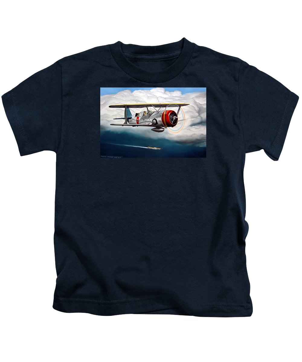 Aviation Kids T-Shirt featuring the painting Shakedown Cruise by Marc Stewart