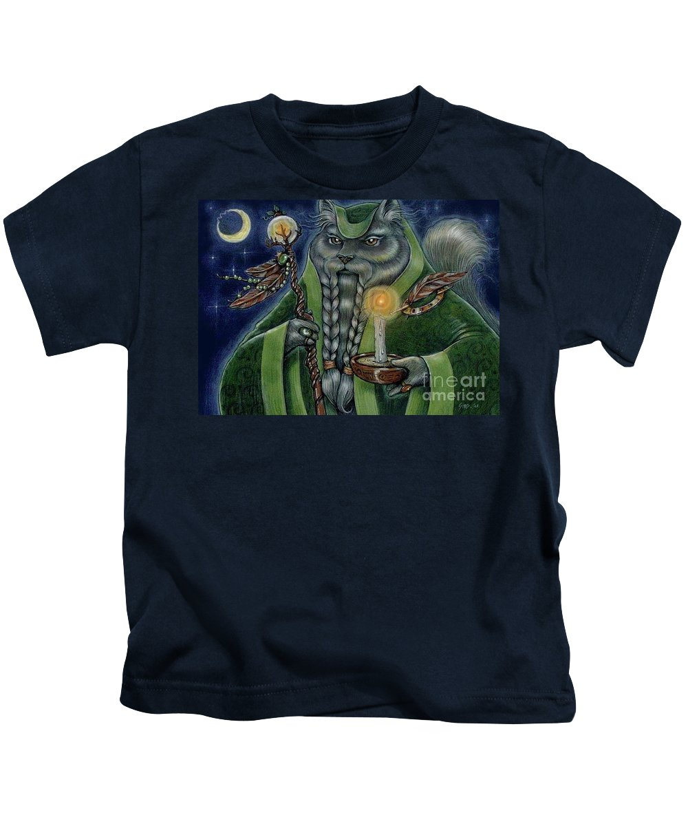 Cats Kids T-Shirt featuring the painting Shaman's Moon by Sin D Piantek