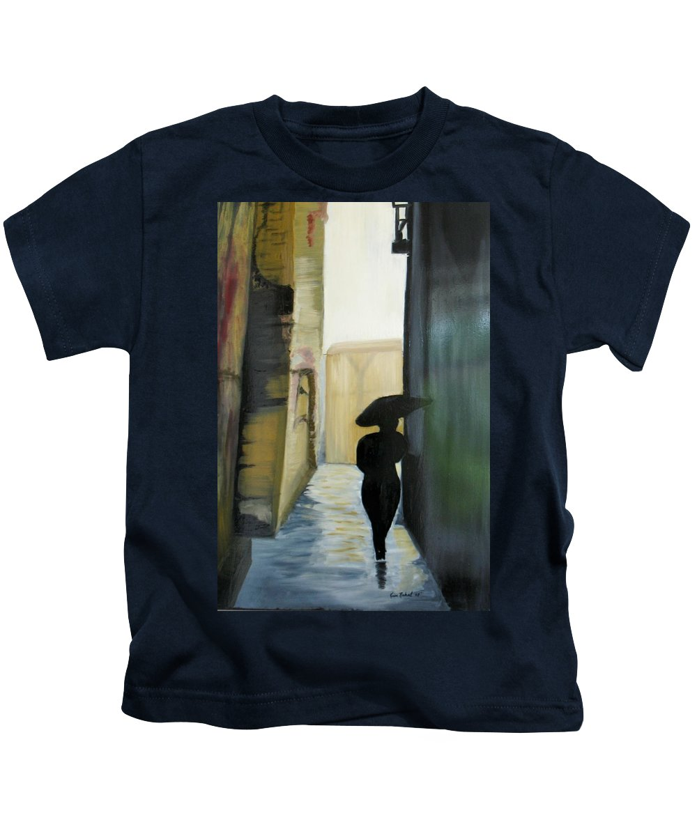 Woman Walking Kids T-Shirt featuring the painting She Walks by Kim Rahal