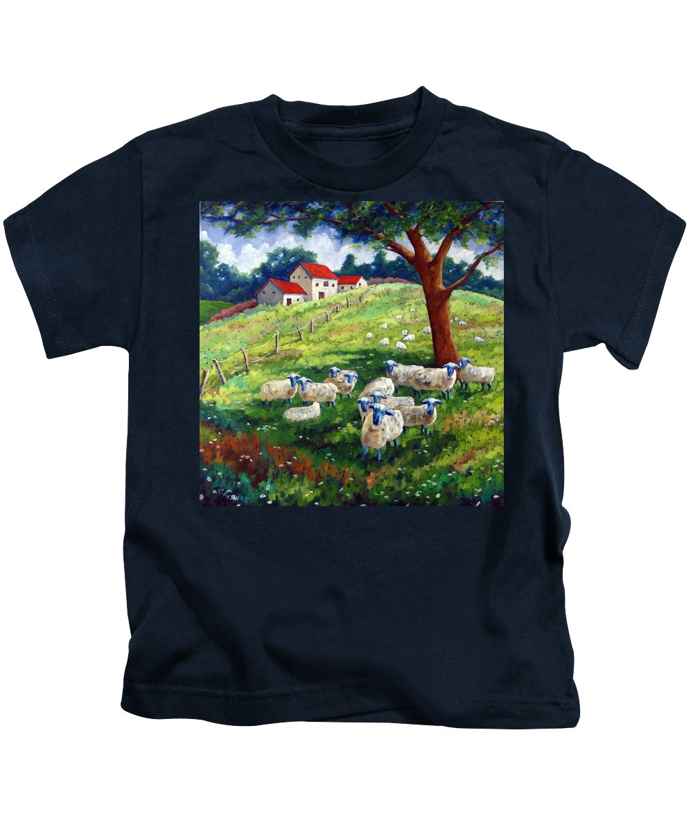 Sheep Kids T-Shirt featuring the painting Sheeps In A Field by Richard T Pranke