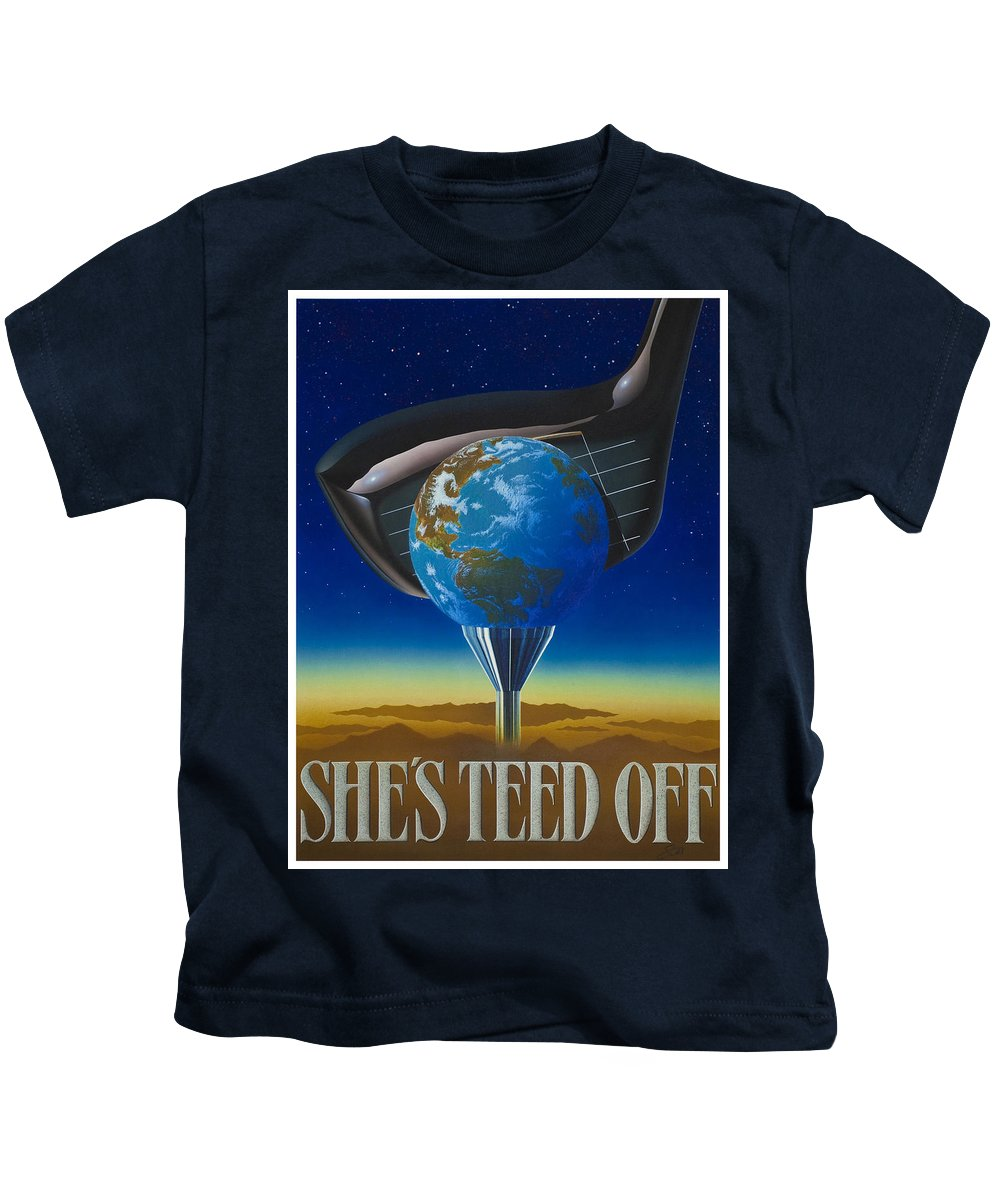Environmental Kids T-Shirt featuring the painting She's Teed Off by Steve Ellis