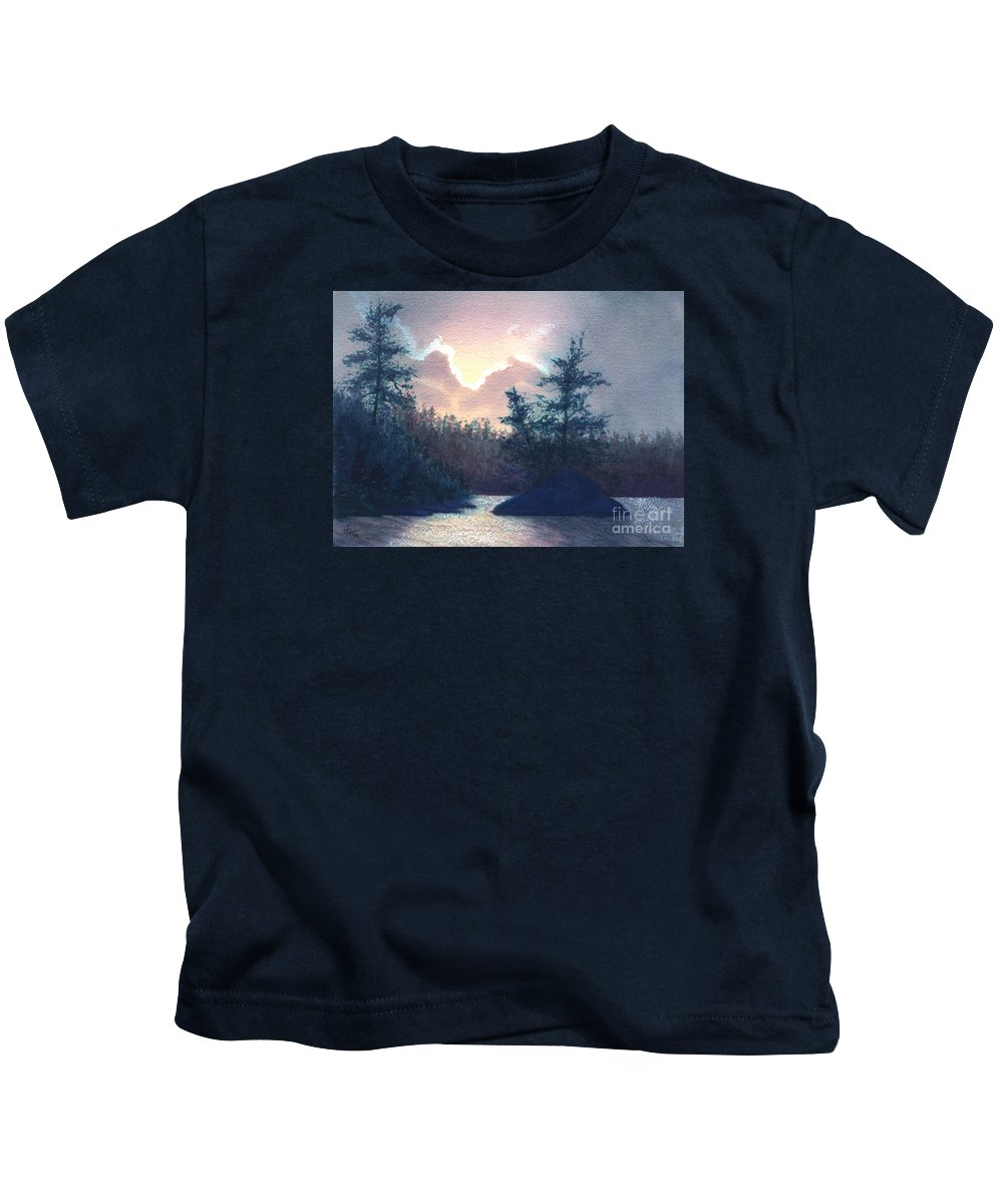 Landscape Kids T-Shirt featuring the painting Silver Lining by Lynn Quinn