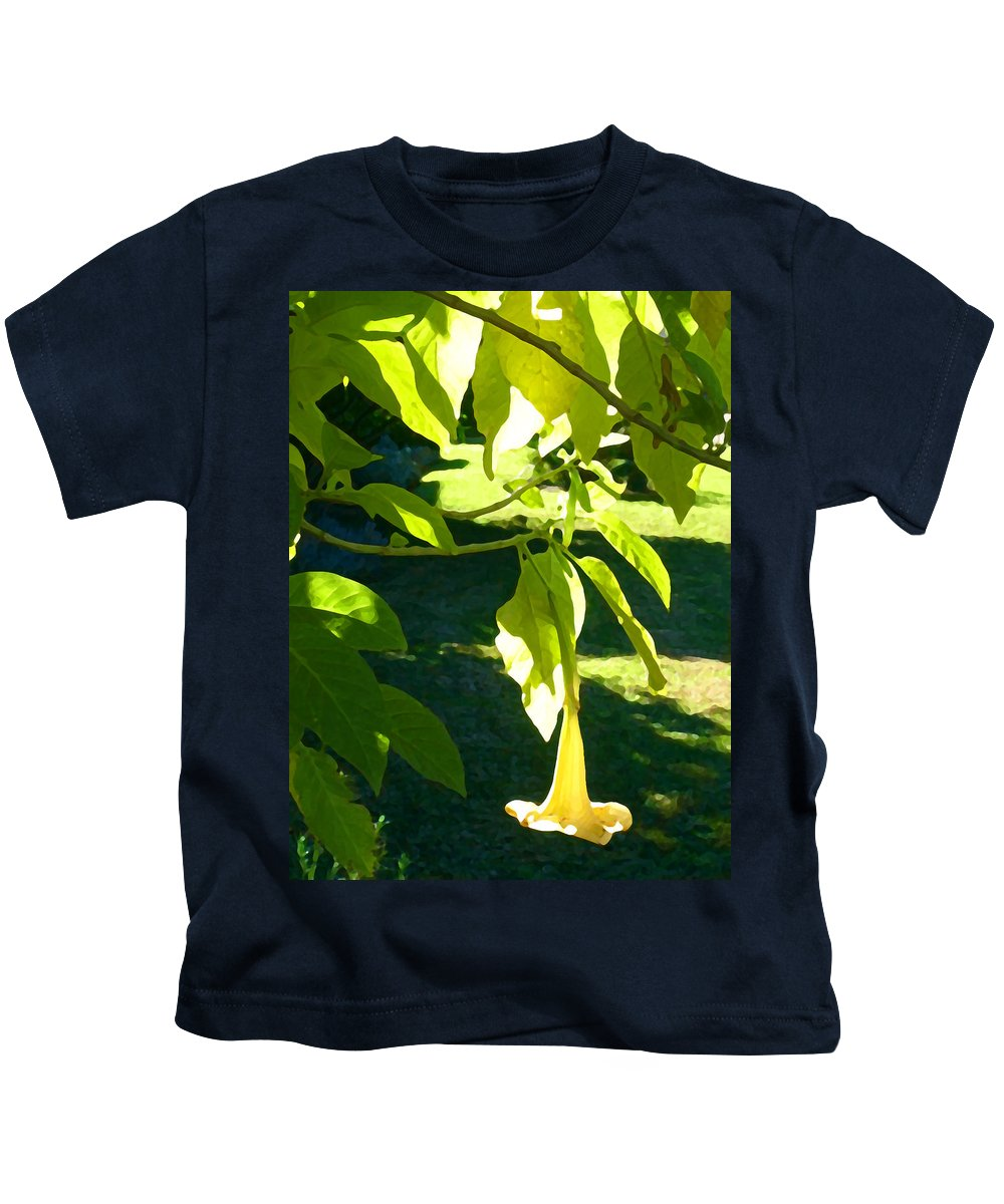 Spring Kids T-Shirt featuring the painting Single Angel's Trumpet by Amy Vangsgard
