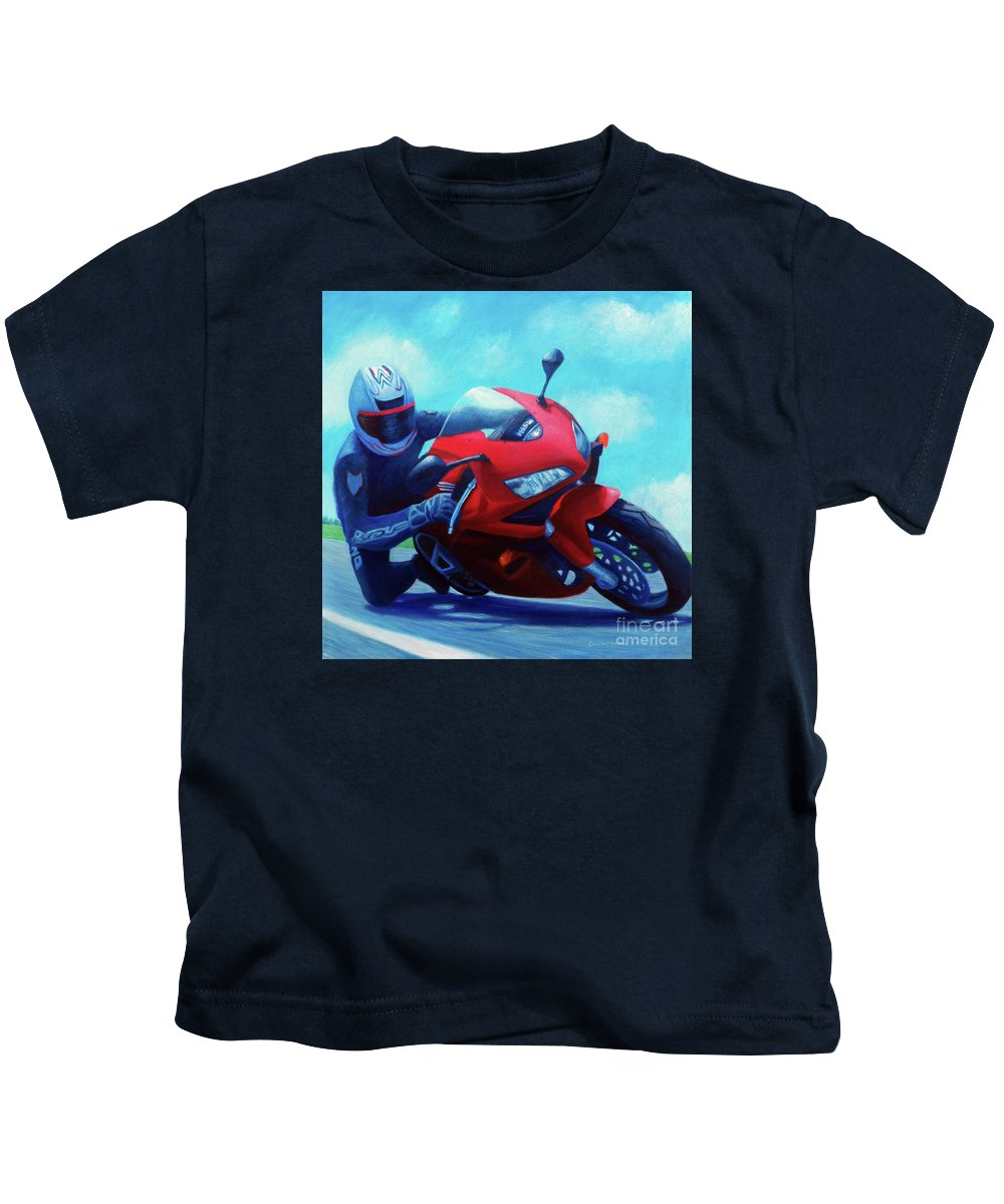 Motorcycle Kids T-Shirt featuring the painting Sky Pilot - Honda Cbr600 by Brian Commerford