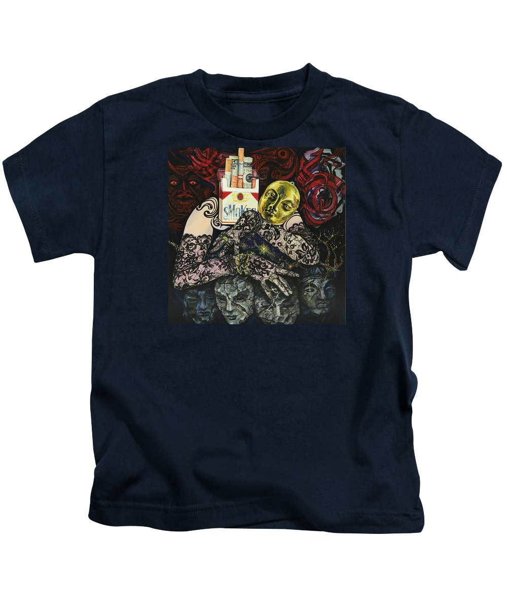 Surreal Kids T-Shirt featuring the painting Smoke And Lace by Yelena Tylkina