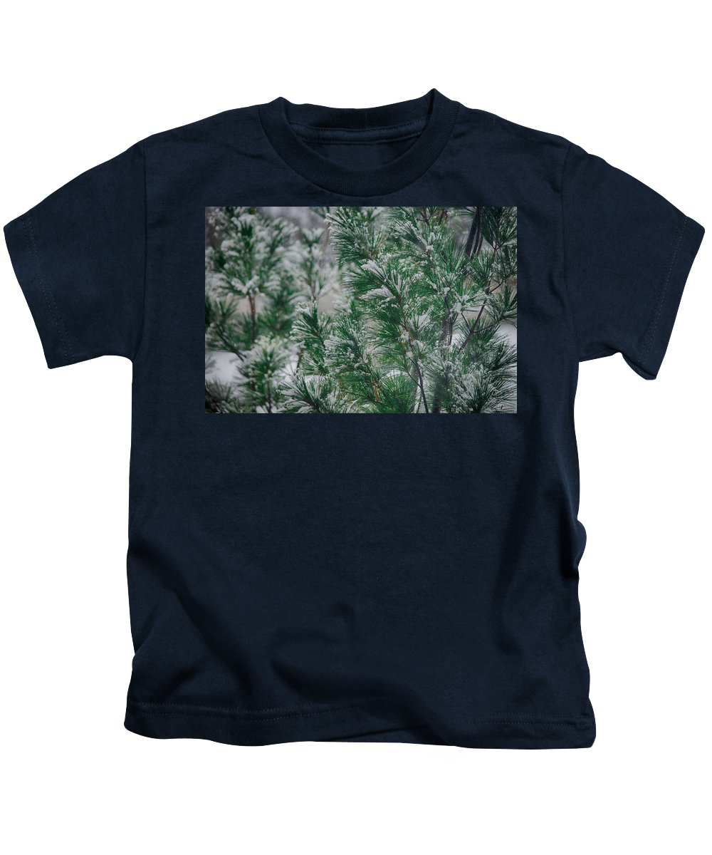 Winter Kids T-Shirt featuring the photograph Snow On The Pine by John Diebolt