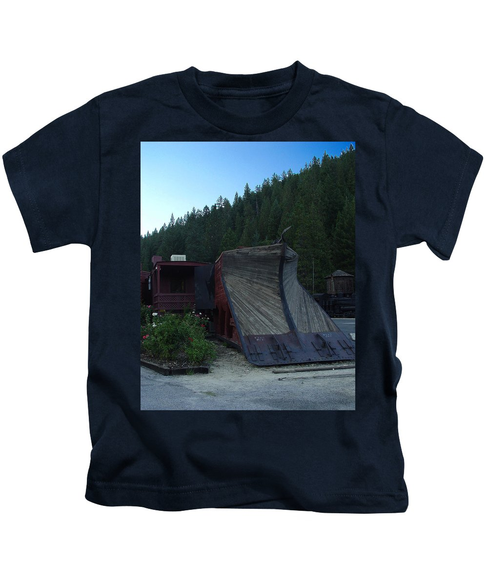 Train Kids T-Shirt featuring the photograph Snow Plow by Peter Piatt
