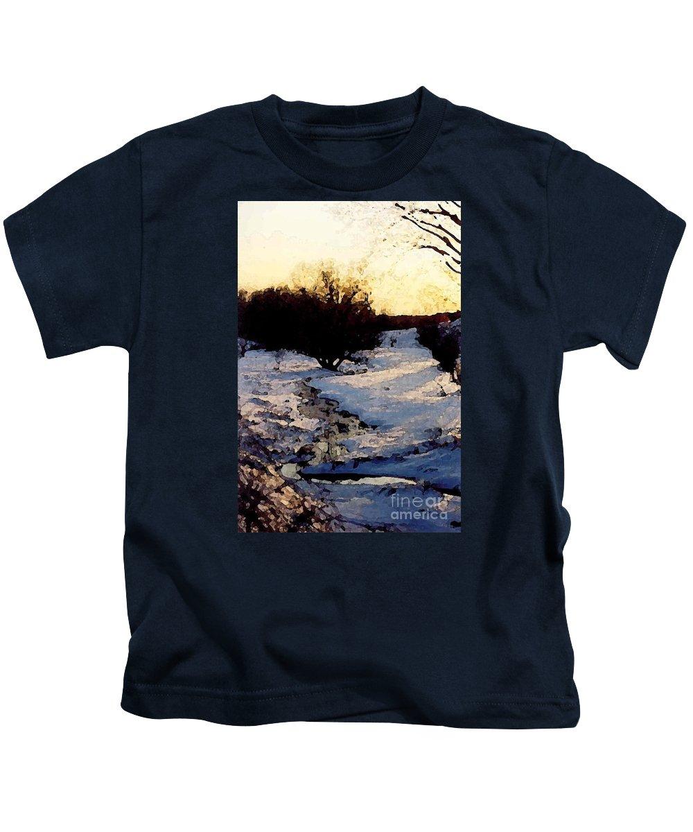 Winter Kids T-Shirt featuring the digital art Snowmelt by Mendy Pedersen