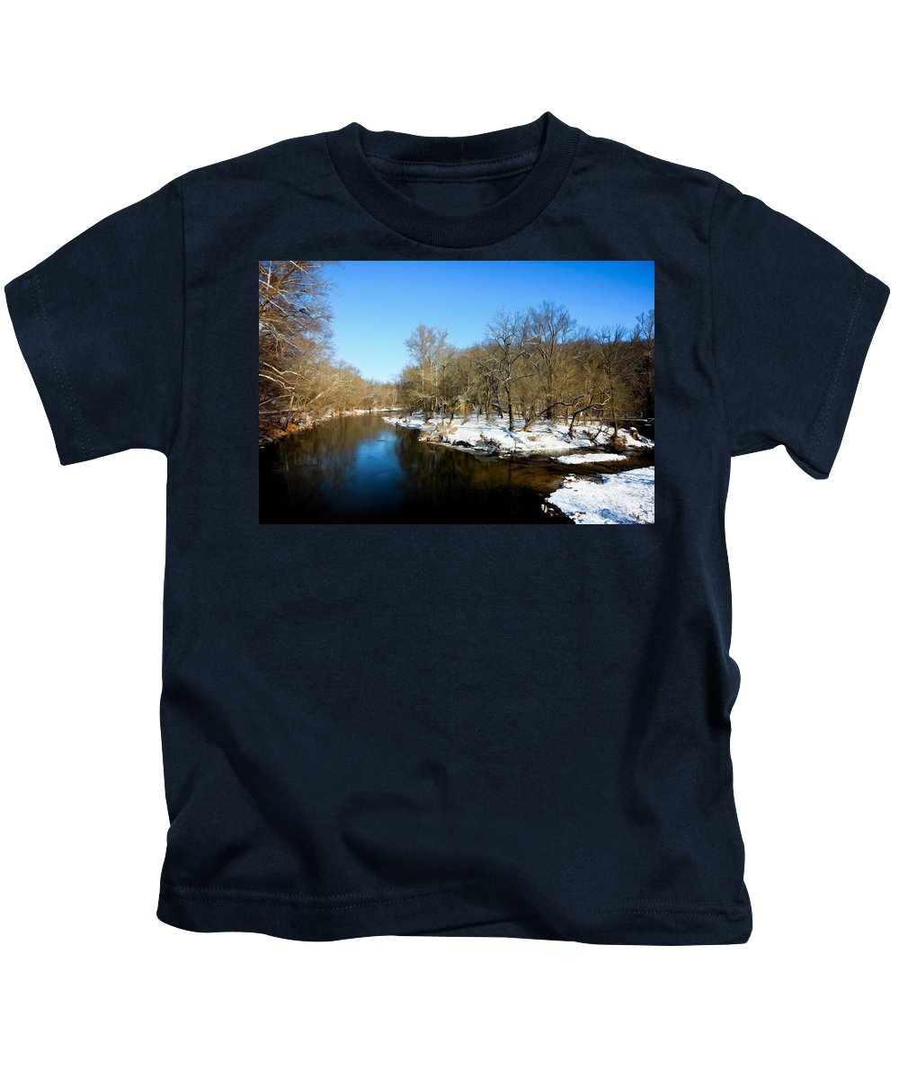 Landscape Kids T-Shirt featuring the photograph Snowy Creek Morning by William Jobes