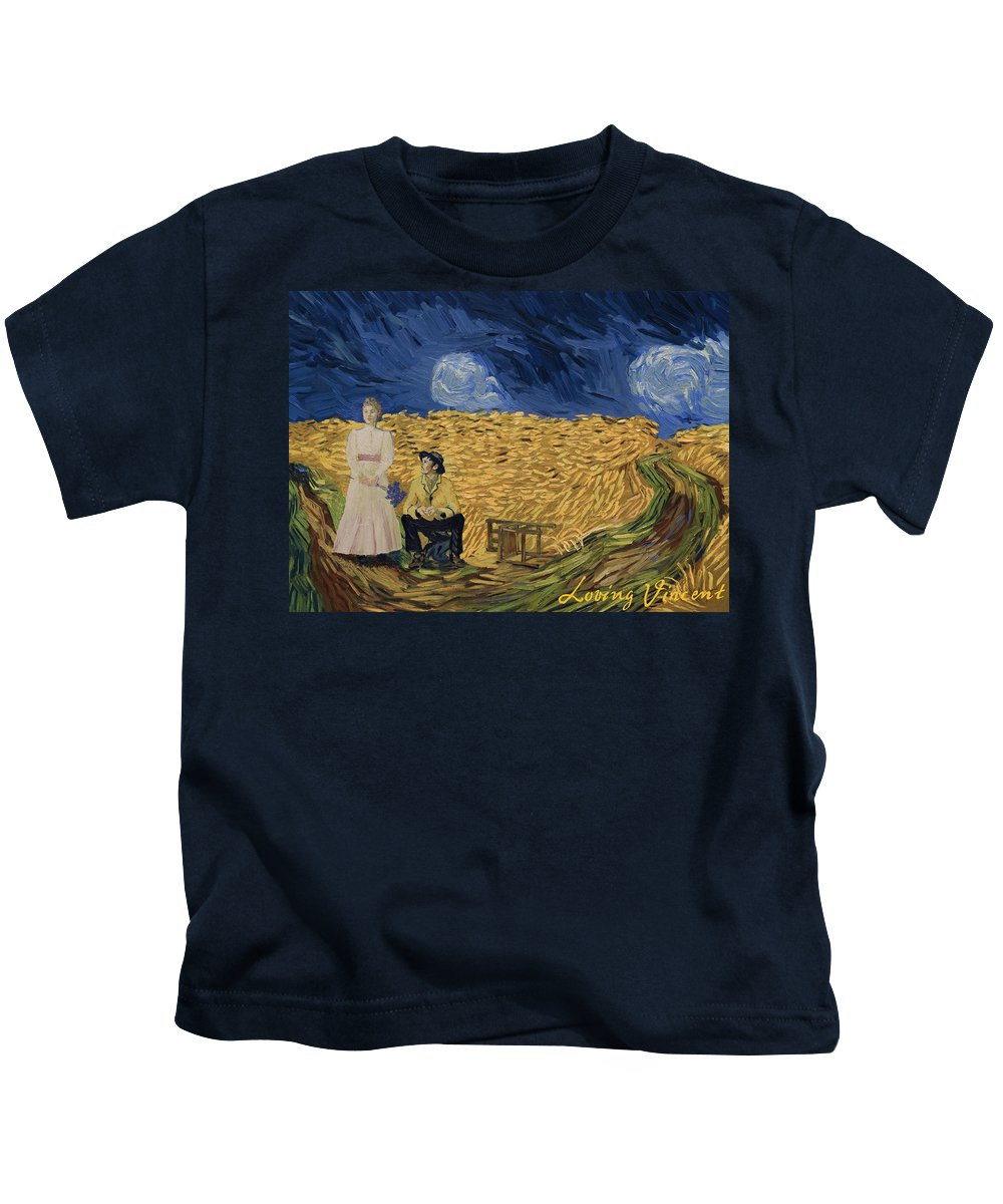 Kids T-Shirt featuring the painting So Now You're Up Here, Contemplating Your Future? by Sarah Wimperis