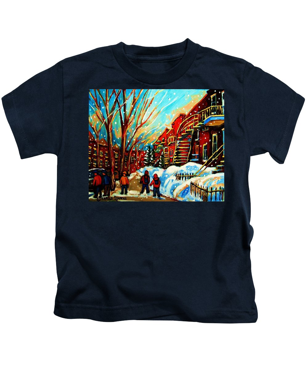 Montreal Kids T-Shirt featuring the painting Softly Snowing by Carole Spandau