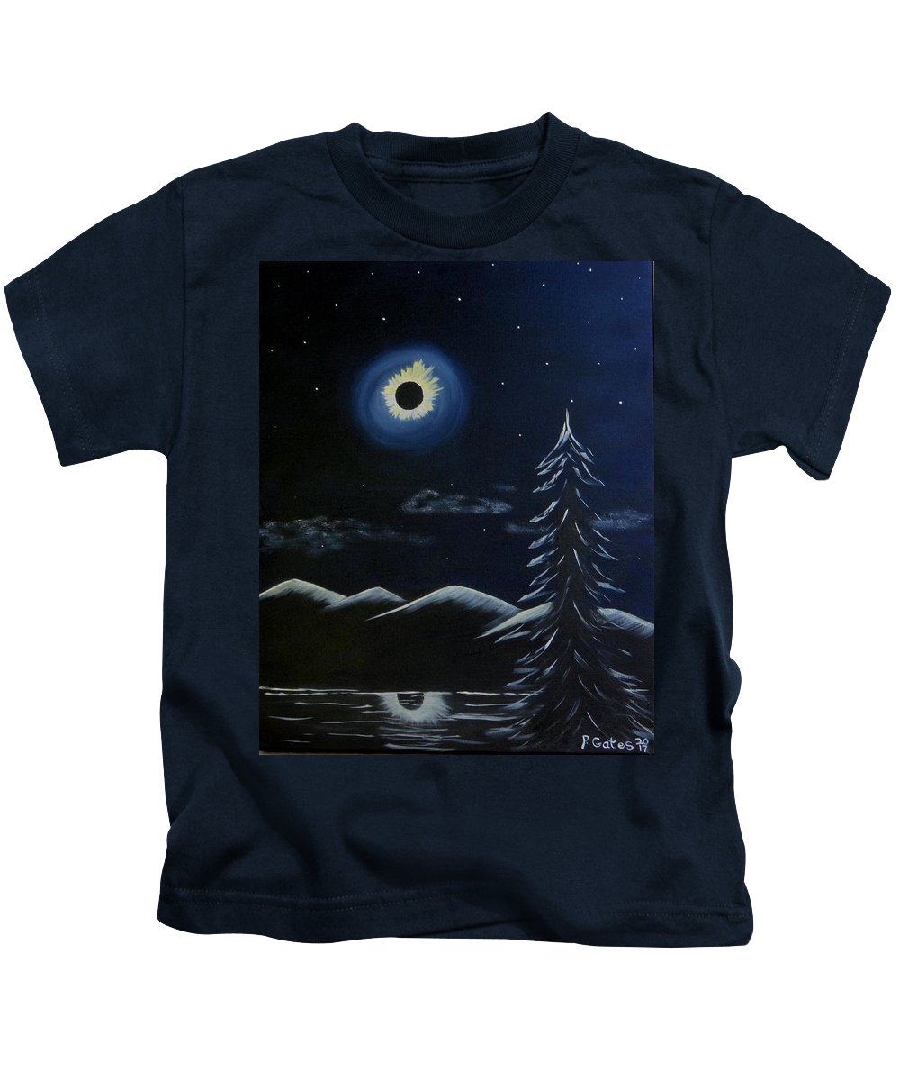 Solar Kids T-Shirt featuring the painting Solor Eclipse by Phyllis Gates
