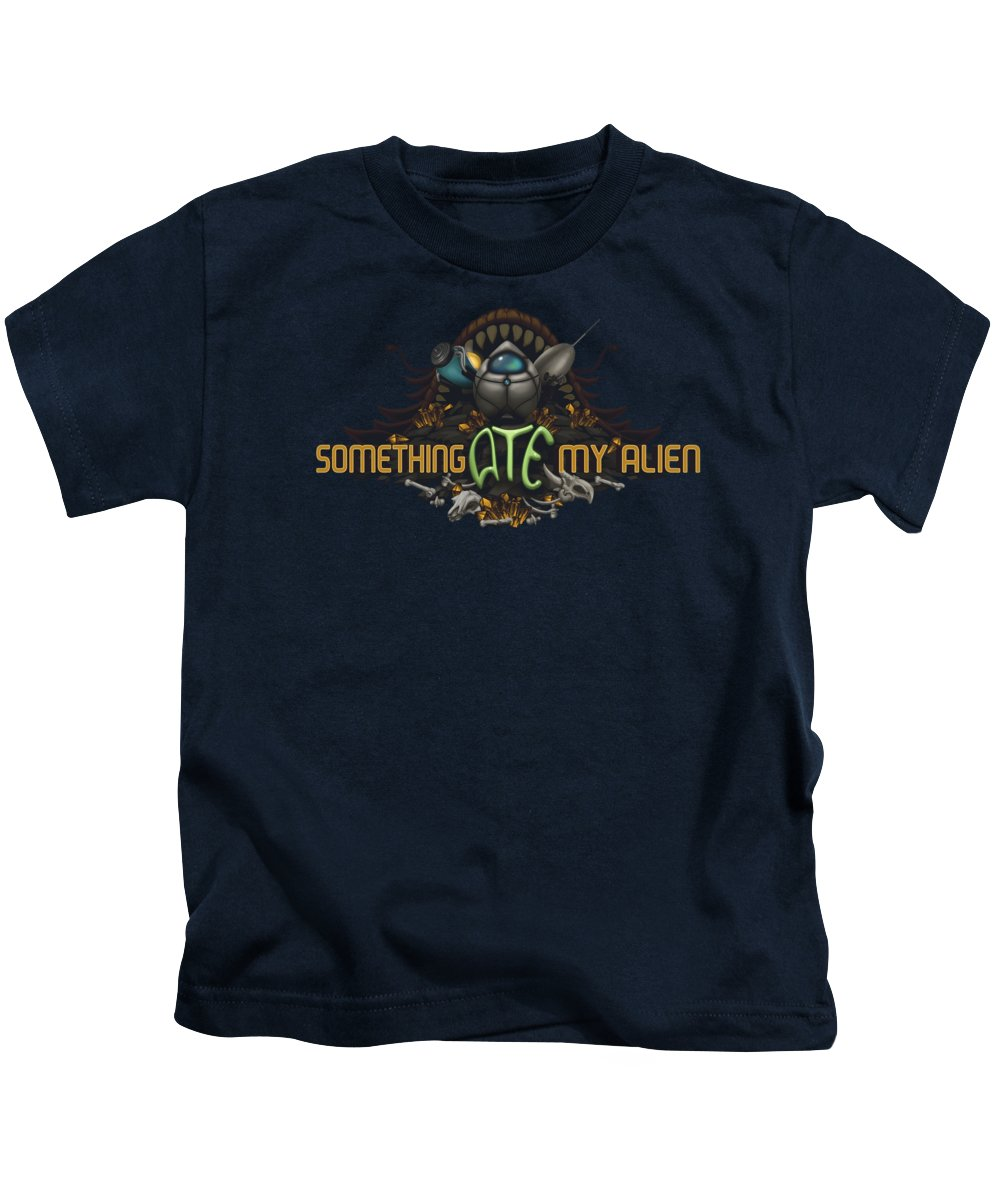 Video Game Kids T-Shirt featuring the digital art Something Ate My Alien #2 by RoKabium Games