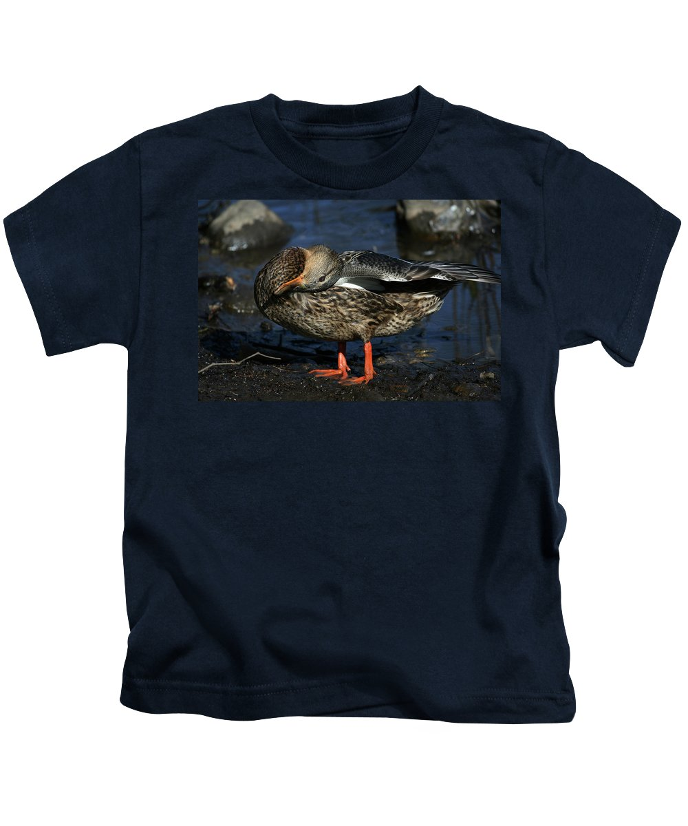 Duck Kids T-Shirt featuring the photograph Sometimes I See The World Upside Down by Karol Livote