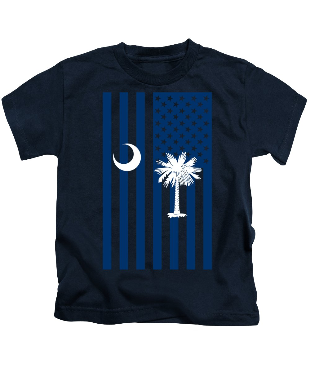 South Carolina Kids T-Shirt featuring the digital art South Carolina State Flag Graphic Usa Styling by Garaga Designs