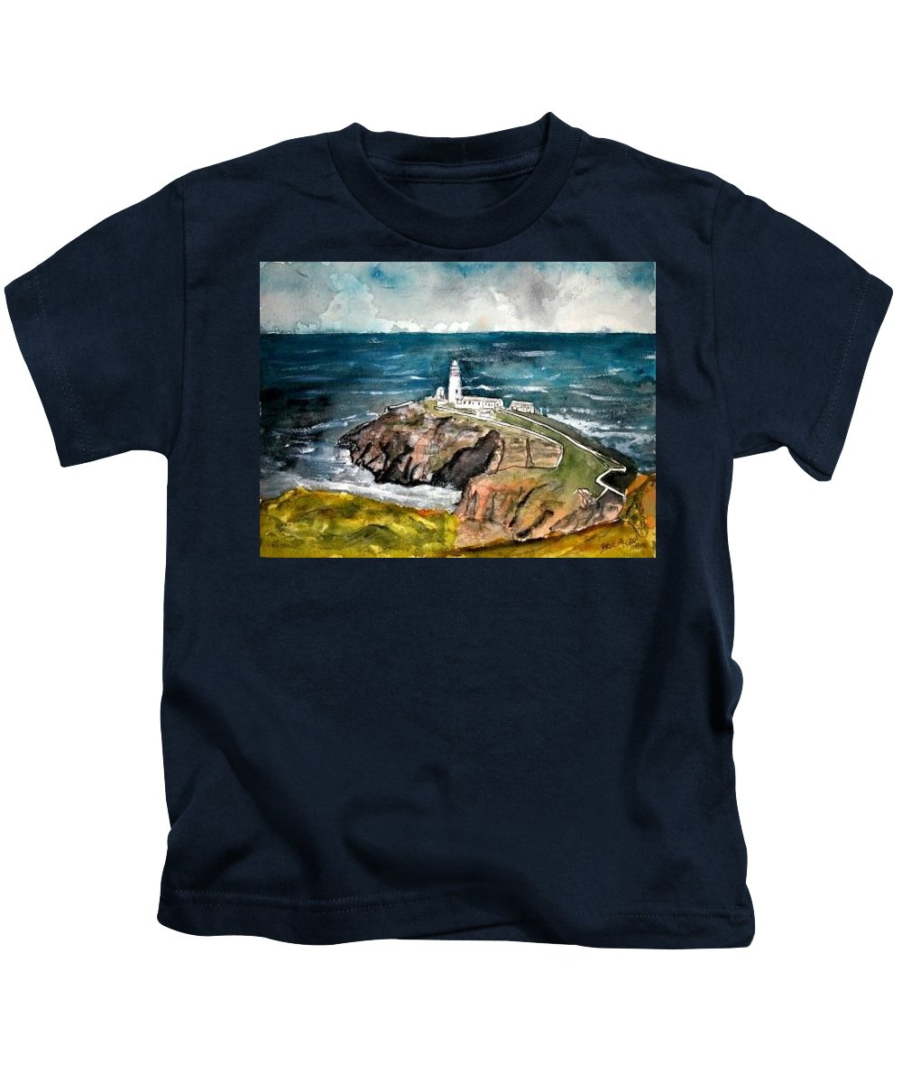 South Stack Lighthouse Kids T-Shirt featuring the painting South Stack Lighthouse by Derek Mccrea