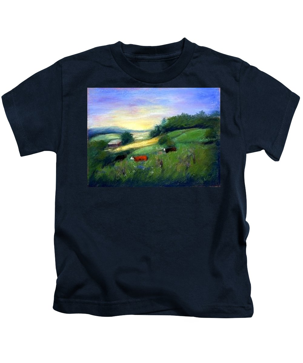Landscape Kids T-Shirt featuring the painting Southern Ohio Farm by Gail Kirtz