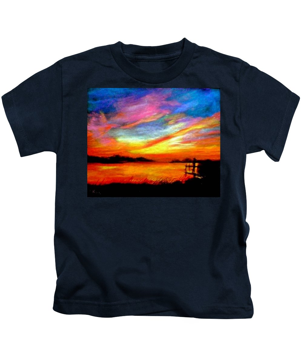 Sunset Kids T-Shirt featuring the painting Southern Sunset by Gail Kirtz