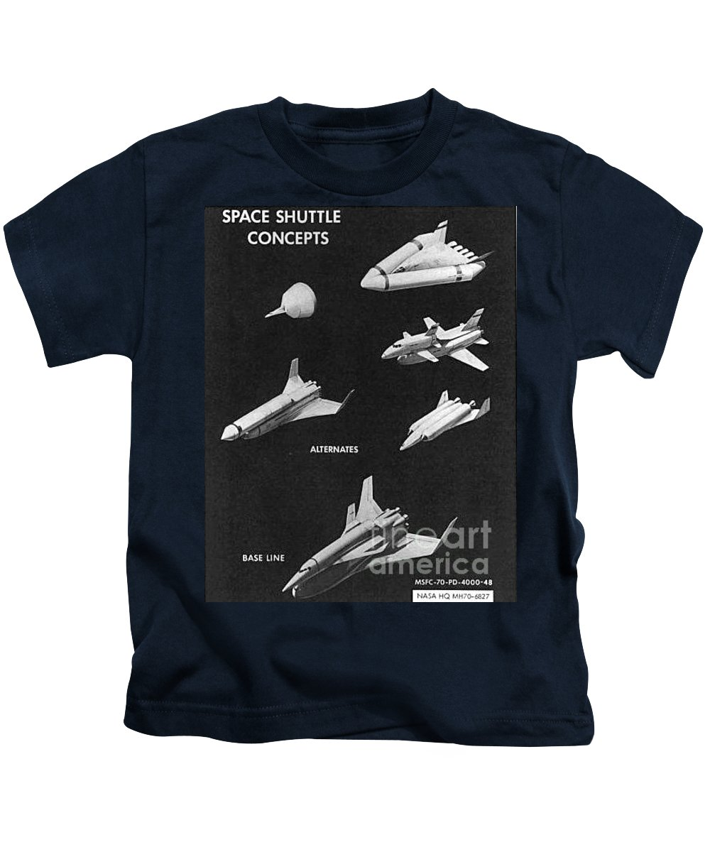 Space Shuttle Concepts Illustration Showing Late 1960s Designs Part Of The Phase A A Prime Process Kids T-Shirt featuring the photograph Space Shuttle Concepts Illustration Showing Late 1960s Designs Part Of The Phase A A Prime Process by R Muirhead Art