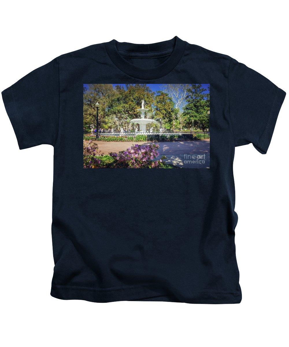 Savannah Kids T-Shirt featuring the photograph Spring Fountain by Joan McCool