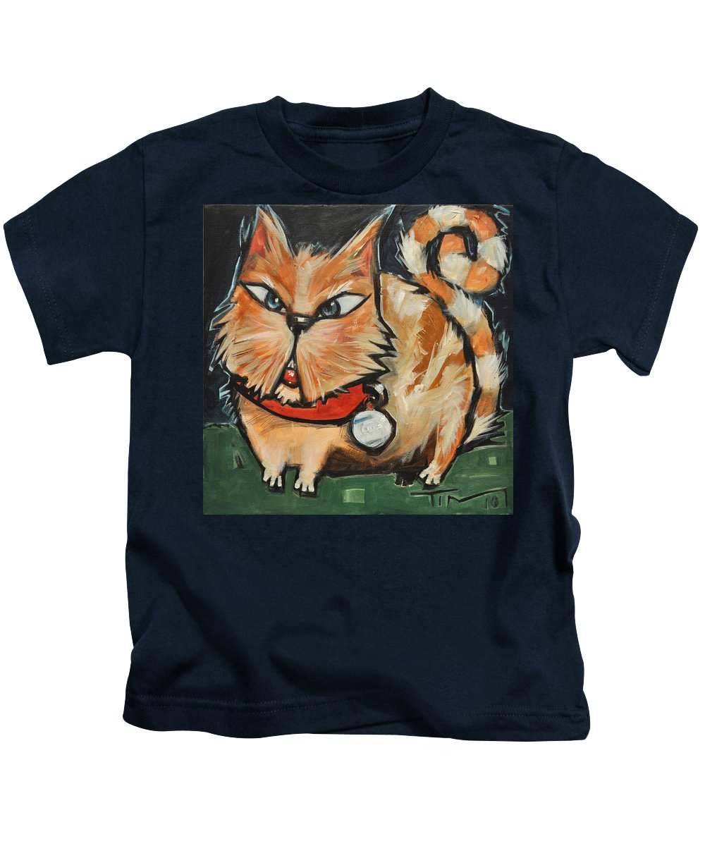 Cat Kids T-Shirt featuring the painting Square Cat Two by Tim Nyberg