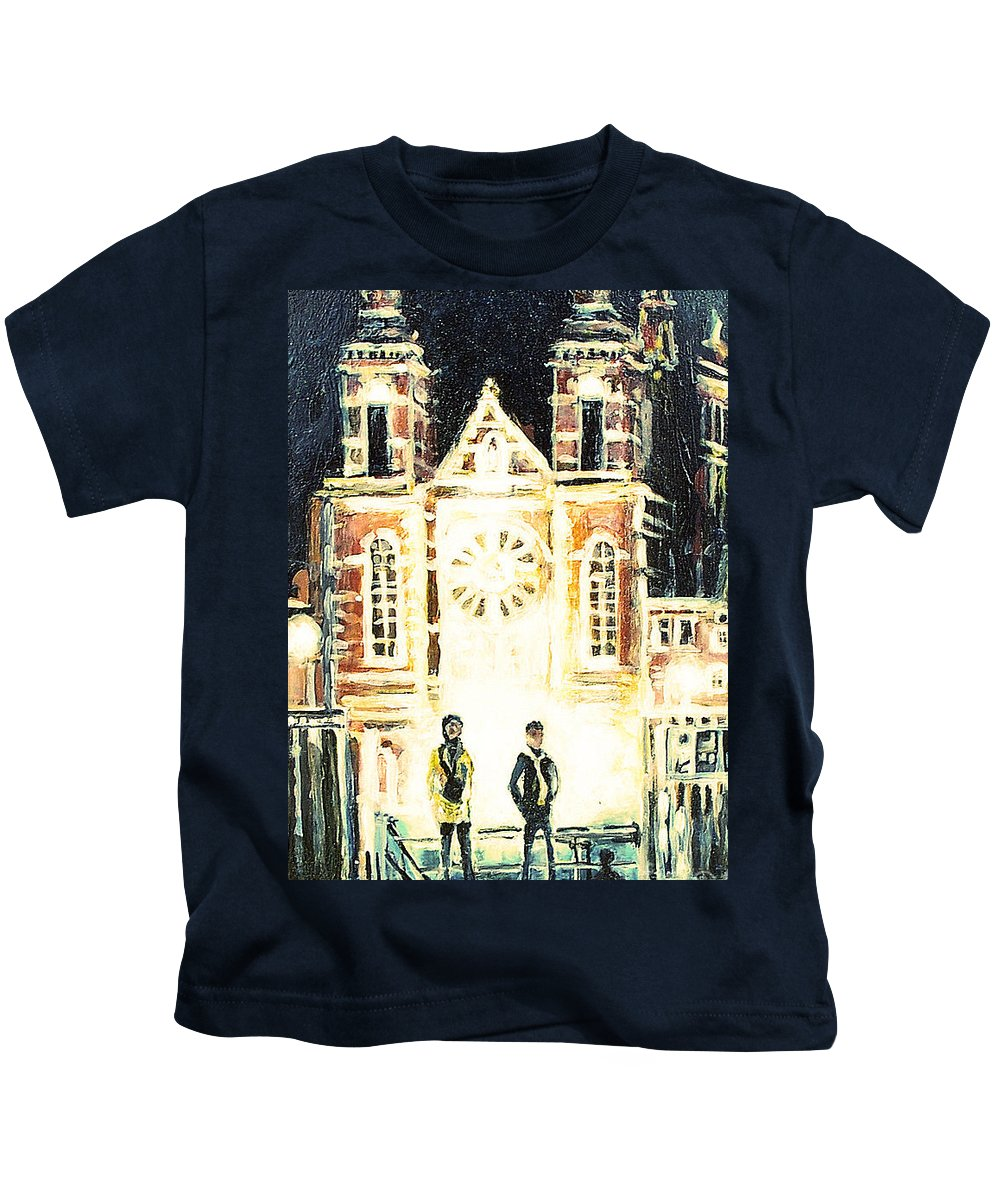 St Nicolaaskerk Kids T-Shirt featuring the drawing St Nicolaaskerk Church by Linda Shackelford