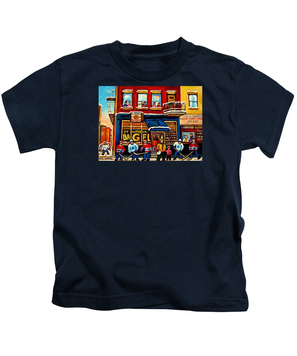Montreal Kids T-Shirt featuring the painting St. Viateur Bagel Hockey Practice by Carole Spandau