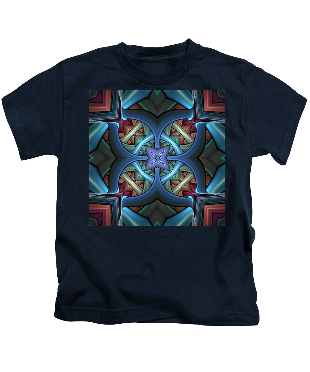 Digital Art Kids T-Shirt featuring the digital art Stacked Kaleidoscope by Amanda Moore